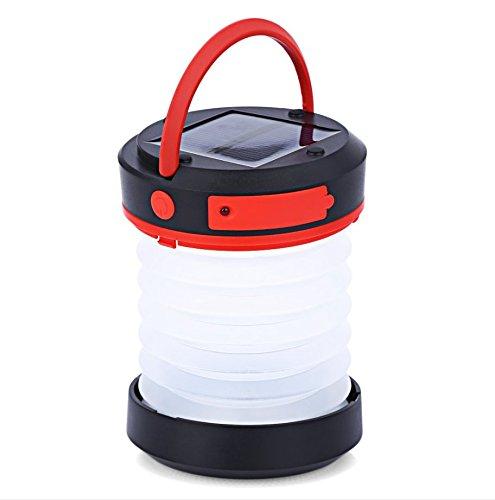 Liqoo LED Solar Linterna de Camping USB Farol de Mano Lámpara Blanco Frío Sos al Aire Libre Doblable Plegable Impermeable para Viaje Campaña