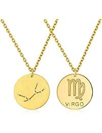 2d924a393fe3 ChicSilver Plata de Ley 925 Chapado en Platino Oro Collares para Mujer Colgantes  Doble Cara