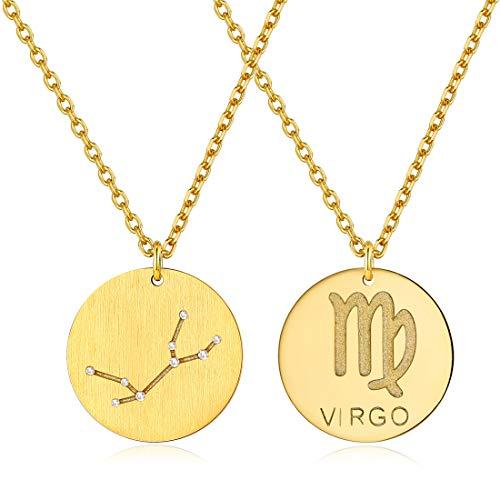 ChicSilver 12 Sternbild-Serie die Jungfrau- Silber Halskette-925 Sterling Silber CZ Horoskop Sternzeichen 12 Konstellation Anhänger Halskette Geschenke für Damen und Mädchen