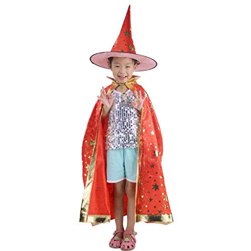 Fünf Halloween Umhang Set Halloween Kind Kostüm Hexe Umhang Magic Master Dress Up ( Farbe : Rot )