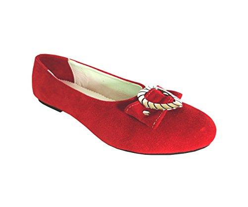 Damen Trachtenschuhe Ballerinas aus Echt Leder, Rot, Gr.40