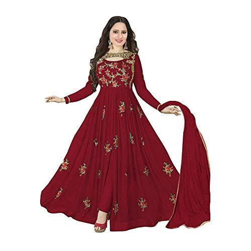 Wommaniya Impex New Designer Maroon Georgette Indian Bollywood Bridal Wedding Anarkali Salwar Suit