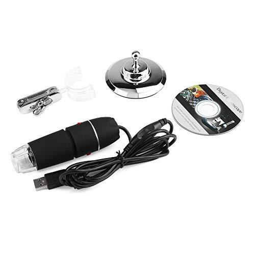 8 LED USB 500X Microscopio endoscopio 5V DC Lupa digital Cámara de video digital HD multifuncional con soporte-Negro-1 tamaño
