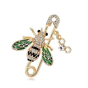 Aisoway Frauen Biene Brosche Sicherheit Insekt Broschen Kristall Kragen Pins für Damen Kleidung Dekoration