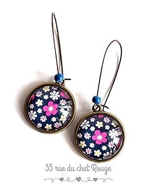 Boucles d'oreilles cabochon, image fleurie, petites fleurs violet, bleu, rose et fushia, nature