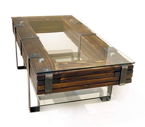 CHYRKA® Couchtisch Wohnzimmertisch LEMBERG Loft Vintage Bar IndustrieDesign Handmade Holz Glas Metall (120x60 cm H=40 cm) - Holz Bar Tisch