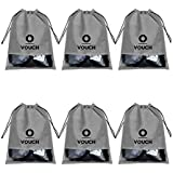 Vouch 6 Piece Non Woven Travel Shoe Cover, String Bag Organizer, Grey