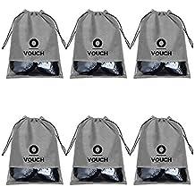 Vouch 6 Piece Non Woven Travel Shoe Cover, String Bag Organizer, Grey