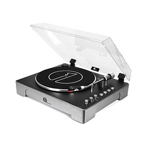 1 BY ONE Vollautomatischer 3 Gang Plattenspieler mit Abnehmbarer Aluminiumplatte verstellbarem Gegengewicht Direkt Vinyl-zu-MP3 USB Computer Aufnahme Fernbedienung
