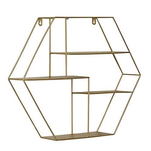 Ggcg retro loft esagonale a parete in metallo scaffalature industriali in stile industriale scaffale espositore portaoggetti struttura galleggiante (colore : oro)