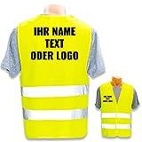 Warnweste mit eigenem Aufdruck * Bedruckt mit Name Text Bild Logo Firma * Personalisiertes Design Selber Machen, Farbe Warnweste:Gelb S (Kinder 7-12 Jahre), Druckposition:Rücken + Rechte Brust