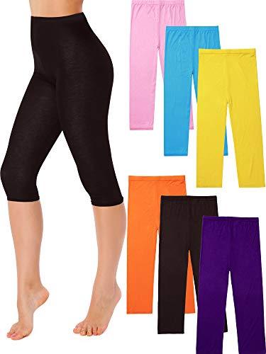 6 Stücke Capri Leggings für Damen mit Hoher Taille (Farbe 3) 6 X Capri