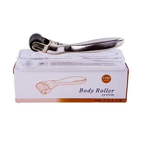 Dermaroller 2mm - Nadelroller mit 1200 Nadeln - Microneedling Roller - Verbesserung des Hautbildes - Beautyroller - Gold, mit Silber-Handgriff