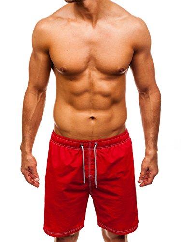 BOLF Herren Schwimmshorts Badehose Schwimmhose Badeshorts Shorts Sportlicher Stil ALNWICK 82252 Rot XXL [7G7]