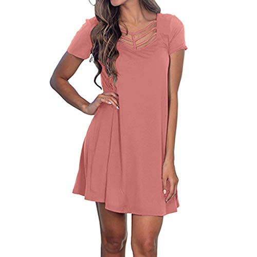 r Kurzarm Swing T Shirt Kleid Criss Cross Ausschnitt Casual Dress Boho Bohemian Kleid Vintage Kleid Lose Casual Swing Kleid Sommerkleid A-Linie Minikleid Swing Strandkleid ()