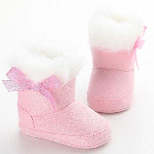 kingko® Säuglingsschätzchen weiche rutschsichere Schneeschuhe Bowknot de Winter warm Torhüter... Rosa