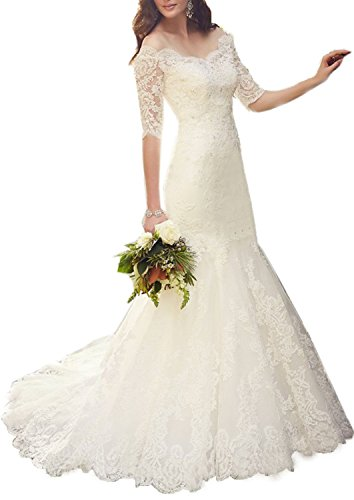 Fanciest Damen Spitzen Meerjungfrau Brautkleider with Half Sleeves Bridal Kleider White UK14