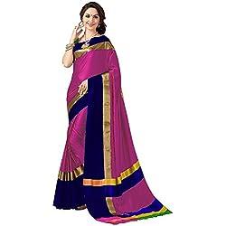 Perfectblue Women's cotton Silk Saree With Blouse Piece (BabyPinkNavyBlueVisva)