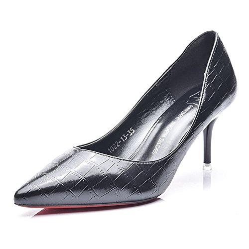 Damen Pumps Spitze Slip On Stilettos Gitter Glänzende Beiläufige Schuhe Schwarz
