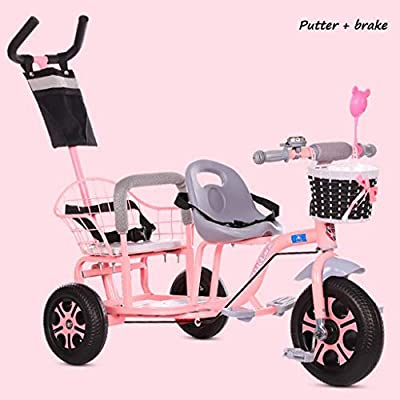 BABY STROLLER ZLMI Los niños de Doble Triciclo de la Bicicleta de múltiples Funciones Engrosado y agrandado del Cuerpo del Pedal Plegable 1-6 años de Edad,Pink,A