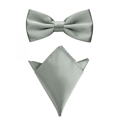Rusty Bob - Fliege mit Einstecktuch in verschiedenen Farben (bis 48 cm Halsumfang) - zur Konfirmation, zum Anzug, zum Smoking - im 2er-Set - Silber-Grau (Navy Krawatte Anzug)