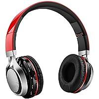 Aita BT816 Auriculares Bluetooth de Diadema Plegable, Cascos Estéreo con luz LED, radioFM, ranura para tarjeta de memoria micro SD, Micrófono incorporado para uso como manos libres compatible con iPhone, android, PC, Mac, TV y cualquier dispositivo Bluetooth (Rojo)