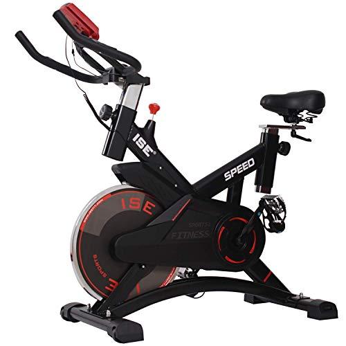 ISE Profi Indoor Cycle Ergometer Heimtrainer mit Pulsmesser,LCD Anzeige,Armauflage,Pulsgurt&gepolsterte,10kg Schwungrad, Fitnessbike Speedbike mit flüsterleise Riemenantrieb-Fahrrad bis 135Kg