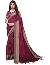 AKHILAM Women's Linen Saree with Unstitched Blouse Piece (Magenta_PLNNK26)