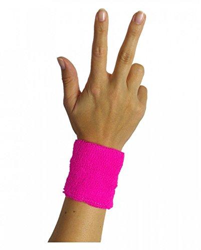 Horror-Shop Neonpinkes 80er Jahre Schweiß-Armband für Neon Party -