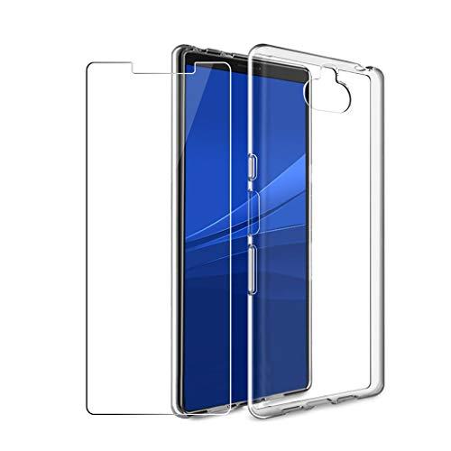 """LJSM Coque pour Sony Xperia 10 Plus + [2 pièces] Verre trempé écran Film Protecteur Transparent Souple Silicone Étui Protection Housse TPU Case Cover pour Sony Xperia 10 Plus (6.5"""") -Clear"""