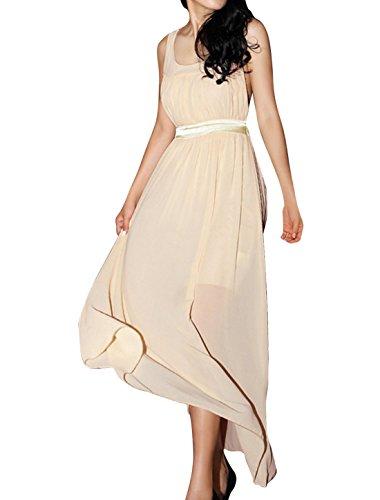 Damen U-ausschnitt Ärmellos Einfarbig Gerade Kleid Altweiß