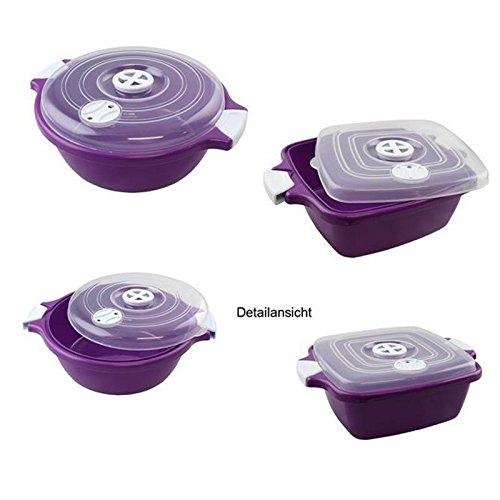 Lantelme Mikrowellenschüssel Set in rund und eckig mit je 1,8 Liter, Spülmaschinenfest . Kunststoff Farbe violett / weiß / transparent 4507