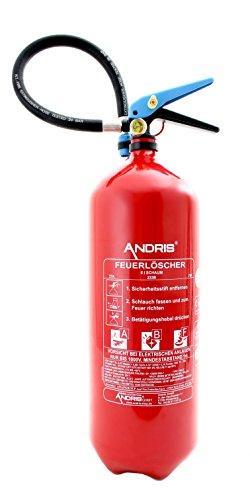 6L Fettbrand Schaum Feuerlöscher mit Manometer DIN EN3 Orig. ANDRIS® Made in EU + ANDRIS® Prüfnachweis & ISO Symbolschild