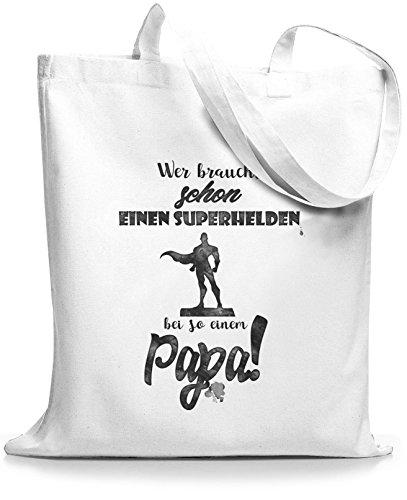 StyloBags Jutebeutel / Tasche Wer braucht schon einen Superhelden bei so einem Papa Weiß