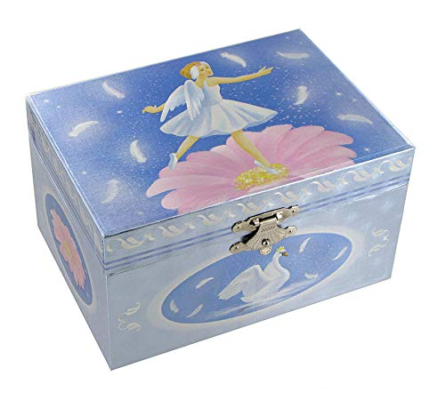 Caja de música para joyas / joyero musical de madera con bailarina bailadora (Ref: 22191) - El lago de los cisnes (P. I. Chaikovski)