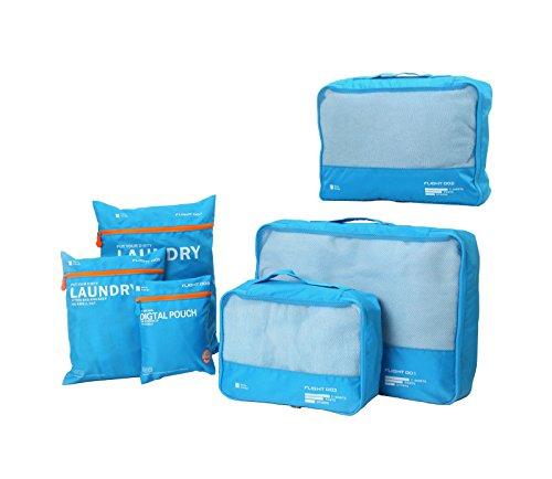 DoubleVillages 6 Set Organizer per valigie / Packing Cubes / Cubi Di Imballaggio Viaggi Organizzatore / Impemeabile Borsa da Toilette/ Borsetta da Viaggio/ Organizzatore Portatrucchi / Impemeabile Borsa da Toilette / Borsetta da Viaggio -Azzurro