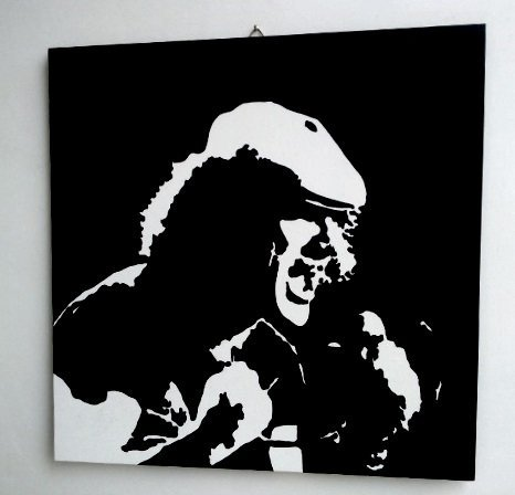 Brian Johnson AC/DC ACDC AC/DC de Modern Madera MDF pintados a mano Pop Art (Formato 50x 50cm)