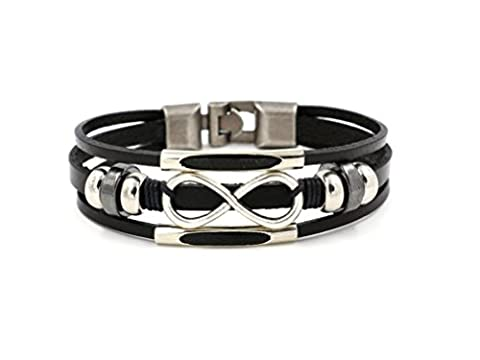 COSORO Punk Alloy Leather Bracelet Love Infinity Symbol With Stainless Steel Clasp Fit Men,Women(21cm) (BLACK)