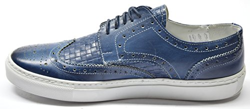 PATRICK -- DRUDD® -- SS17 -- Scarpa Inglesina sport in Pelle Tamponata, stringata, su fondo gomma a cassetta leggero Blu