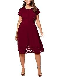 Mujer Vestidos De Noche La Rodilla Talla Grande Retro Vintage Moda Encaje Splice Vestido Corto Arm Cuello Redondo Fiesta Elegante…