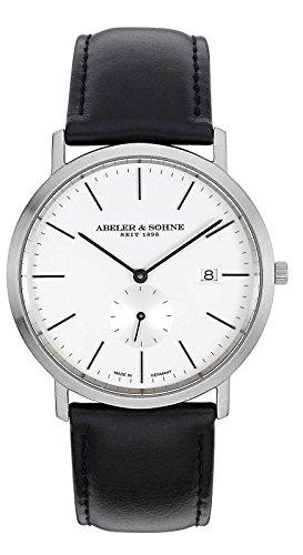 Abeler & Söhne–Made in Germany–Orologio da uomo con cinturino in pelle, Vetro Zaffiro e Data as1185