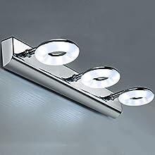 Lightess Lampe Miroir LED 17W Salle De Bain Applique Tableau Luminaire Moderne Design Ip44 Étanche Lampe En Acier Inoxydable De Chambre Dressing Coiffeuse 110Lm