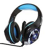 Mueka Gaming Headset Für PS4,Over-Ear Gaming Kopfhörer Mit Mikrofon LED Licht 3.5mm Für Xbox One,Laptops,Mac,Tablet Und Smartphone