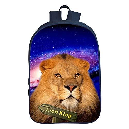 Impresión en 3D Nuevo Animal Estrellado león Rey Alumnos Mochila Escolar Mochila Hombres y Mujeres Bandolera - Nuevo Modelo de cinturón para Regalo de 17 niños y niñas