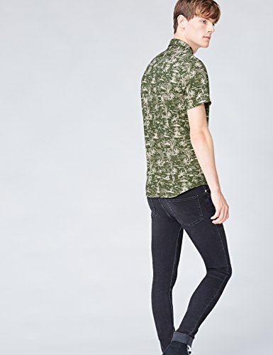 FIND Herren Regulär Geschnittenes Kurzarm-Hawaii-Hemd Grün (Khaki Palm)