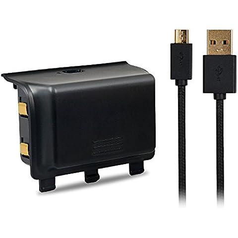 MoKo Xbox One Paquetes de Baterías y Cable de Carga, 2000mAh Recargable Extendido PowerBank Smart Charging Gaming Cargador para Xbox One DualShock Controlador / Gamepad, Negro