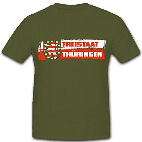 Freistaat Thüringen Bundesland Deutschland Erfurt Fahne Löwe Wappen Abzeichen - T Shirt #9222