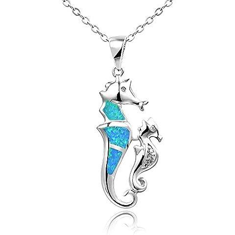 Dormith® Plata de ley 925 Ópalo azul sintético collares para las mujeres Caballitos De Mar Hijo colgante de collar rodio moda
