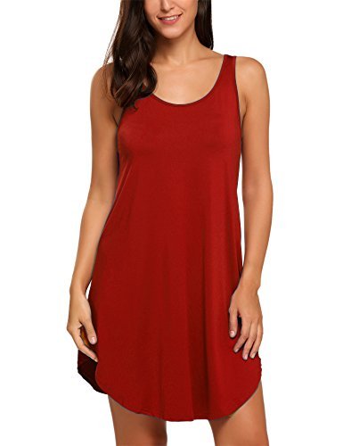 HOTOUCH Damen Mini Kleid Shirtkleid Casual Sommerkleid Stretch Basic Kleider Typ1_Rot
