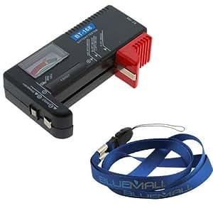 SODIAL(WZ.) Universaler Batterietester Batterie Tester Pruefer Batterie Pruefgeraet fuer AA/AAA/C/D/9V/ Knopfzellen Schwarze Packung enthaelt universalen blauen Halsriemen Umhaengeband